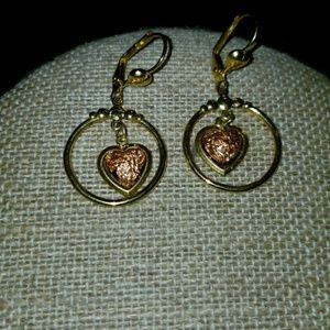 Dangly Copper hear and gold hoop earrings